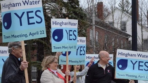 Hingham residents, including current chair of the Board of Selectmen Mary Power, show support for the town buying its water system ahead of the 2019 Town Meeting. Wicked Local file photo.