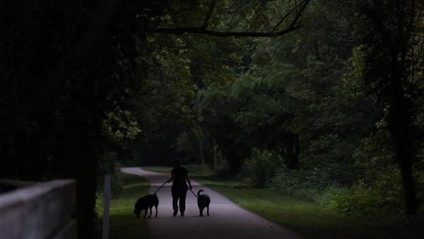 A woman walks her dogs on the Loveland Bike Trail on another cool July morning.
