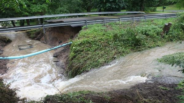 Littleville Road in Avon washed out.