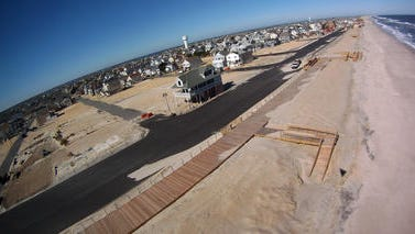 An aerial view of Sandy damage in Toms River's Ortley Beach section in 2013. A $4.9 million grant Toms River will receive will help repair roads and storm sewer lines in Ortley and Toms River's northern barrier island sections.