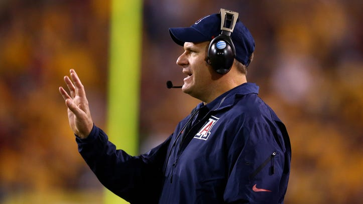 Arizona Wildcats head coach Rich Rodriguez against the Arizona State Sun Devils in the 87th annual Territorial Cup at Sun Devil Stadium.