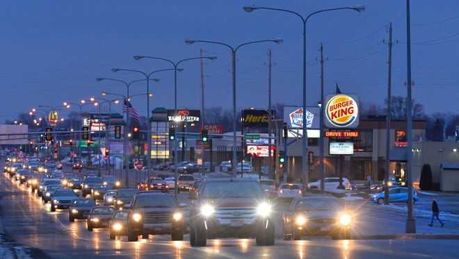 Traffic travels west on Minnesota Highway 23 near its intersection with Minnesota Highway 15 just after 5 p.m. Monday in St. Cloud. The section of Minnesota Highway 23 is one that sees a high volume of crashes, the greatest number tending to happen around the 5 p.m. rush hour.