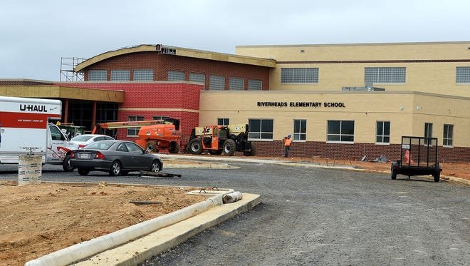 Construction continues on the new Riverheads Elementary School being built in Greenville on Wednesday, April 18, 2017. The school remains on schedule to open with the start of the next school in August.