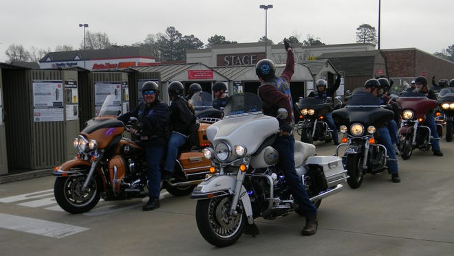 The Red River Reguladores and other law enforcement motorcycle groups when they teamed up for a benefit in 2014 to help provide children of Grant Parish with new shoes.