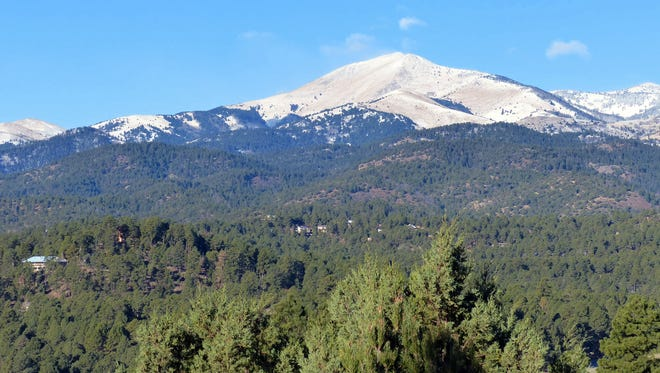 Snow cover on Sierra blanca Peak remains thin despite recent storms and 2 inches of new snow at Ski Apache.