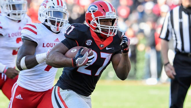 Georgia running back Nick Chubb runs for a touchdown against  Louisiana-Lafayette.
