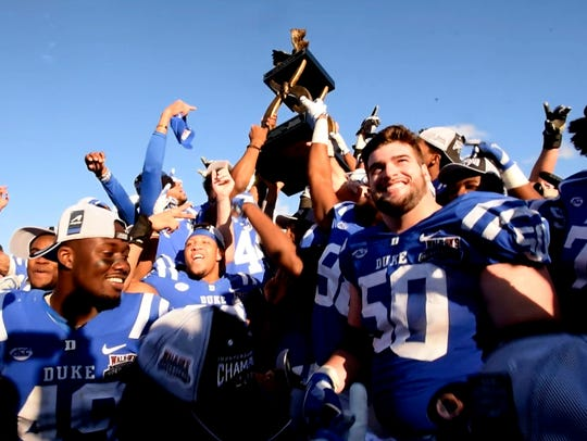 Duke celebrates their win of the 2018 Walk-On's Independence
