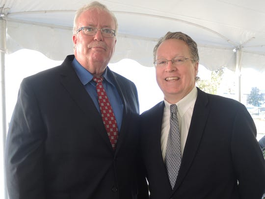 Left to right: John E. McCormac, Mayor of Woodbridge, and Michael J. Smith, president of Berkeley College