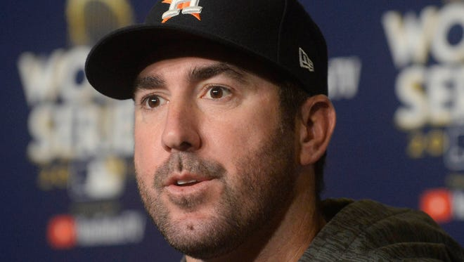 Houston Astros pitcher Justin Verlander speaks to the media before game one of the 2017 World Series against the Los Angeles Dodgers at Dodger Stadium.