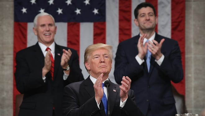President Donald J. Trump claps during the State of the Union address Jan. 30, 2018. This is the first State of the Union address given by US President Donald J. Trump and his second joint-session address to Congress.  EPA-EFE/WIN MCNAMEE / POOL ORG XMIT: 775110582