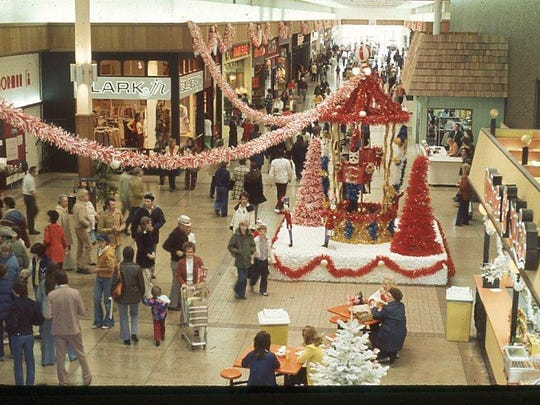 Lancaster Mall is decorated with Christmas decorations in 1975. The mall celebrated its grand opening in 1971.