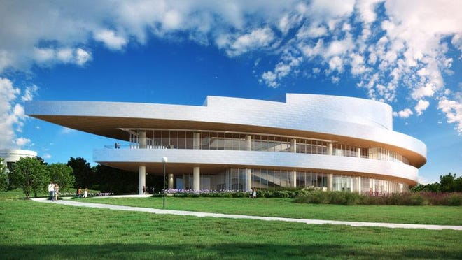 Hancher Auditorium, shown in this rendering, is expected to be substantially completed by March 2016, with the first performance set for that fall.