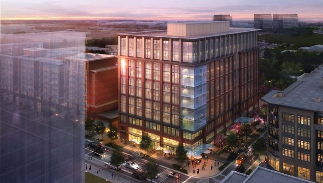Aerial view of the Block E office building at the corner of 11th and Nelson Merry at Capitol View.