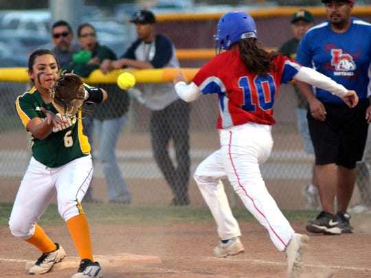 Mayfield's Enyssa Alderete gets the out at first base