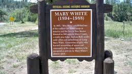 This historical marker commemorates the namesake of Camp Mary White, oldest Girl Scout camp in New Mexico