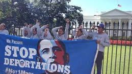 Immigration activists in front of the White House.