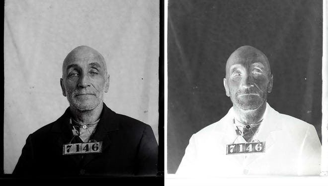 The reverse of this years-old negative (right) produced the image at left of an Iowa inmate. Photo buff Mark Fullenkamp has set about inverting and digitizing more than 11,200 glass-plate negatives.