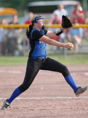 Deposit's Makenzie Stiles pitches during the Class