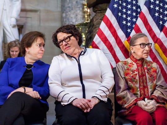 Justices Elena Kagan, Sonia Sotomayor and Ruth Bader