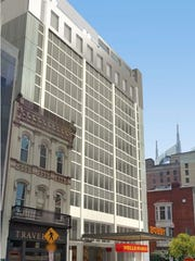 A rendering showing The Bobby hotel signage in front of the former Wells Fargo Plaza office building.