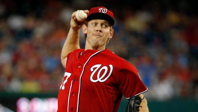 Washington Nationals starting pitcher Stephen Strasburg throws during the fourth inning
