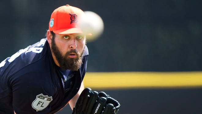 Detroit Tigers starting pitcher Michael Fulmer warms up for a spring training game Wednesday, March 1, 2017 in Dunedin, Fla.