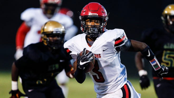 Raleigh-Egypt senior running back Kalyn Grandberry (shown here earlier in the season) is The Commercial Appeal's offensive football player of the week.