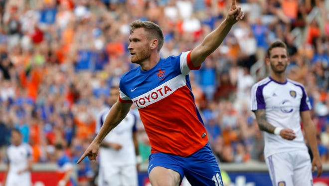 FC Cincinnati Kyle Greig  (16) celebrates after scoring the first goal of the first half of the USL soccer match between FC Cincinnati and Orlando City B at Nippert Stadium in Cincinnati on Saturday, Aug. 5, 2017. Despite a goal late in stoppage time, FC Cincinnati settled for a tie against OCB.