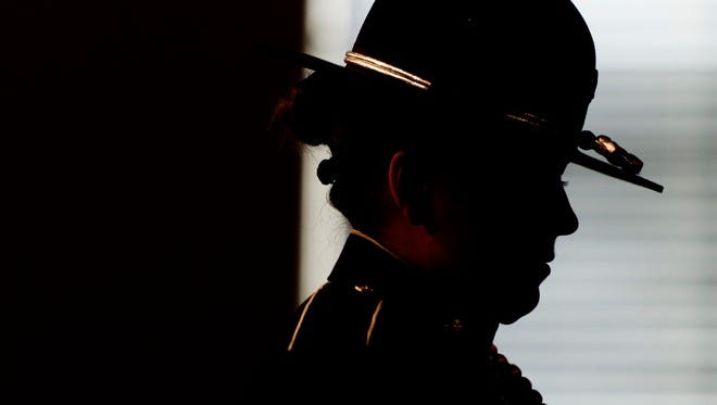 An member of the honor guard during the annual Law Enforcement Memorial Service at Victory Baptist Church in Maryville, Tennessee on Wednesday, May 10, 2017. A proclamation was presented honoring Maryville Police Officer Kenny Moats, who lost his life in the line of duty in August 2016.