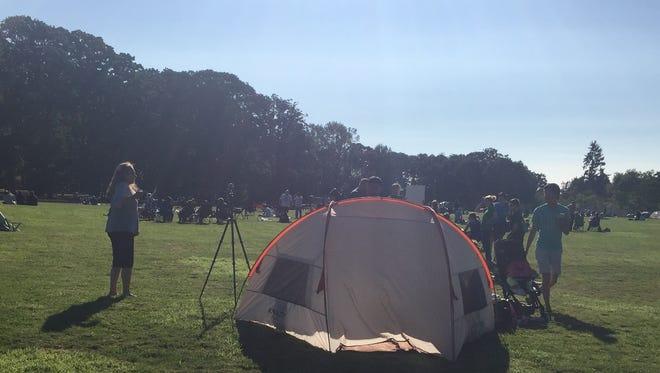 Eclipse watchers at Bush's Pasture Park