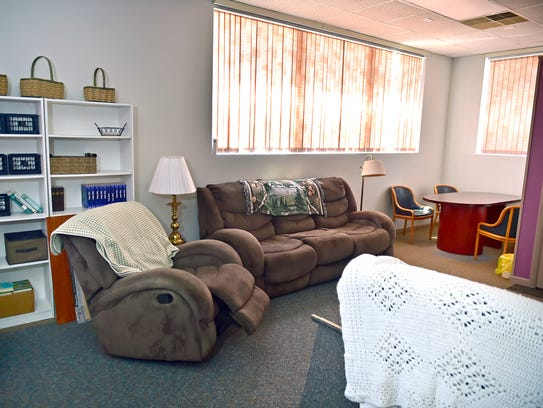 The living room at Esther House, a substance abuse