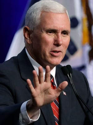 Republican vice presidential candidate Indiana Gov. Mike Pence speaks during the Iowa Faith & Freedom Coalition's Annual Family Fall Banquet on Saturday.