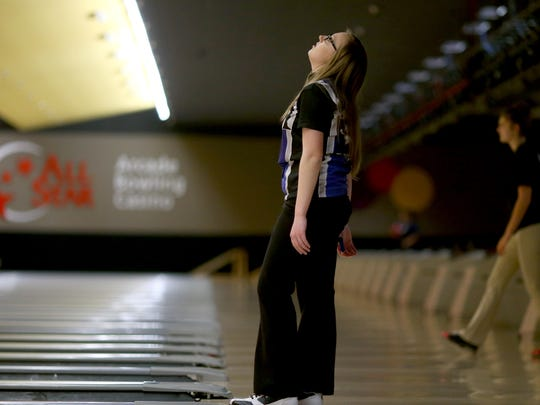 Olympic High bowler Ashlyn Jamrog reacts  after she didn't get the some of the pins knocked down in the Olympic League championships at All Star Lanes in Silverdale.