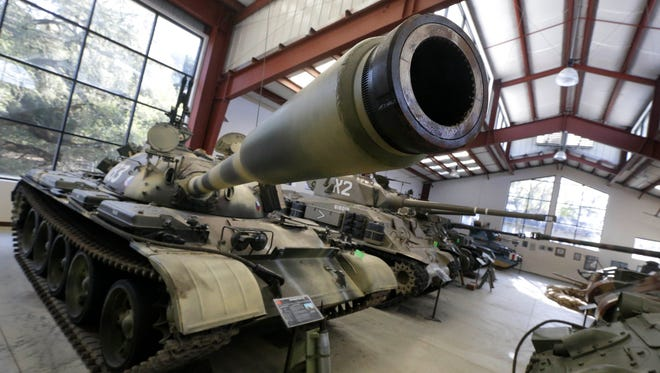 This photo from Wednesday shows a Main Battle Tank from Russia displayed with other tanks at the Military Vehicle Technology Foundation in Portola Valley, Calif.