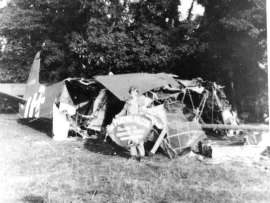 """The crash site of the """"Fighting Falcon,"""" the glider"""