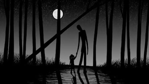"""This image released by HBO shows a drawing of the urban mythical character Slenderman holding a child's hand from the documentary, """"Beware the Slenderman,"""" airing Monday at 10 p.m. EST on HBO."""