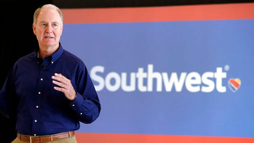FILE - In this Thursday, Oct. 8, 2015, file photo, Southwest Airlines CEO Gary Kelly speaks during a preview of the new international concourse at Houston Hobby Airport in Houston. Southwest Airlines says it plans to stop overbooking flights, an industry practice implicated in an ugly incident on a United Express flight that has damaged United's reputation with the flying public. In 2016, Southwest bumped 15,000 passengers off flights, more than any other U.S. airline.