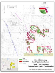 Proposed spray field location in Forrest County