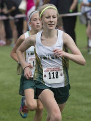 Freedom's Jaci Hinz sprints to the finish line in the
