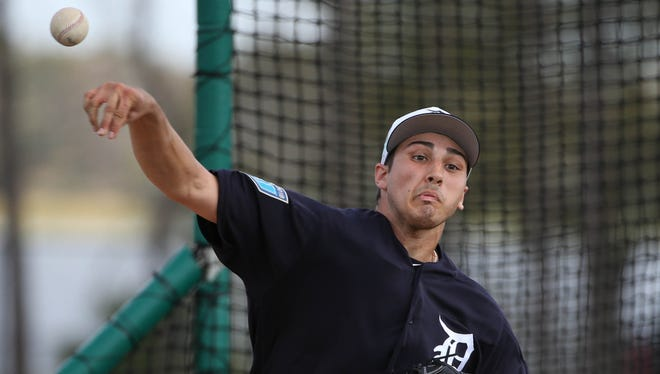 Tigers pitcher Alex Faedo took the mound for the first time facing major league hitters during spring training on Tuesday, Feb. 20, 2018, at Joker Marchant Stadium in Lakeland, Fla.