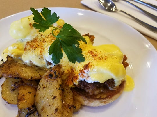 Chef Charles Mereday's oyster eggs benedict stacks fried oysters, poached eggs and from-scratch hollandaise sauce on buttery English muffins, with peppery home fries on the side. Mereday served the dish at Mile Square Bistro, a downtown Indianapolis restaurant that closed in mid-2017.