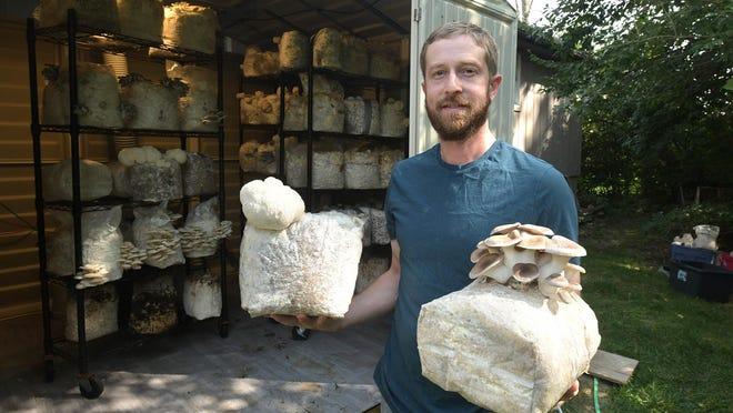 Pat Connolly stands outside the mushroom grow room behind his Brimfield house.