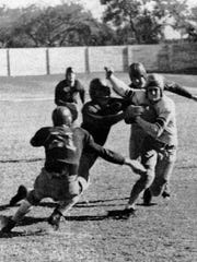 Texas Wesleyan football players are shown during the