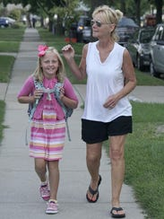 Third grader Madison Lauer and her grandmother, Diane