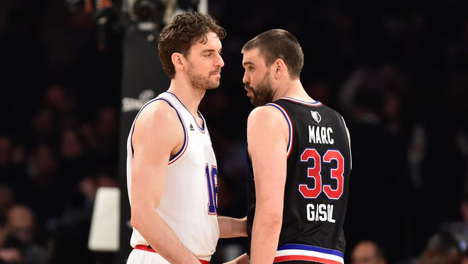 Pau, left, and Marc Gasol were the first brothers to ever start the same All-Star Game.