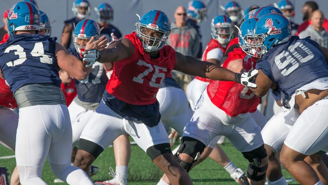 Daronte Bouldin is one of seven returning offensive linemen who started multiple games for Ole Miss last season.