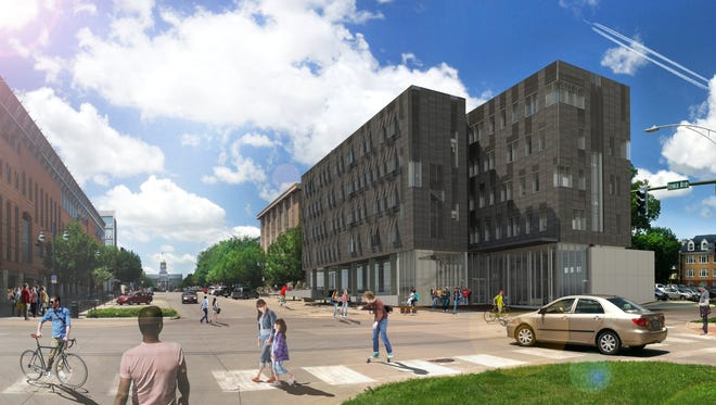 A rendering of the new Psychological and Brain Sciences building at the intersection of Iowa Avenue and North Gilbert Street in Iowa City that's set to open in 2020.
