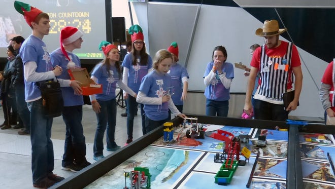 The team competed Jan. 17 at Iowa State University. Bridget and Mary Blanchard were the robot technicians at the competition table with support from their teammates Hans Larsson, Blake Vojtech, Theresa Crawford, Thea Larsson and Maile Latham. Their robot scored in the top 25 percent of all robots that competed that day.