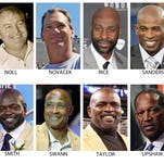 FILE - These are file photos showing members of the Super Bowl 50 Golden Team, selected Thursday, Jan. 28, 2016. From top left are Larry Allen, Mel Blount, Joe Greene, Forrest Gregg, Ray Guy, Charles Haley, Jack Ham, Franco Harris, Desmond Howard, Jack Lambert, Ray Lewis and Ronnie Lott. (AP Photo/File)