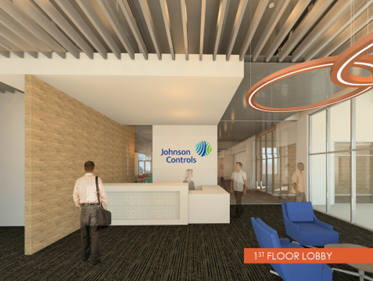 A rendering of a lobby at Johnson Controls' new office